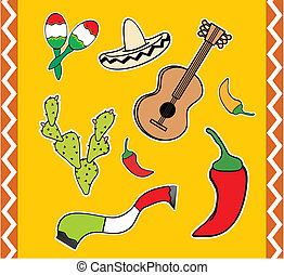 mexican cartoon elemments pack