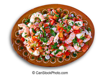 Mexican Ceviche recipe with shrimp seafood from Caribbean