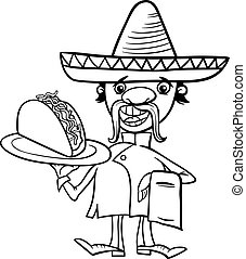 mexican chef with taco coloring page - Black and White...