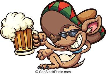 Mexican chihuahua holding a beer mug. Vector clip art ...