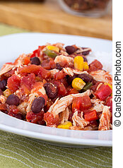 mexican chili chicken stew bowl, with black beans, pepper...