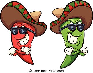 Mexican red and green chili peppers. Vector clip art illustration with simple gradients. Shades and peppers on separate layers.