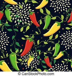 Mexican chili seamless pattern