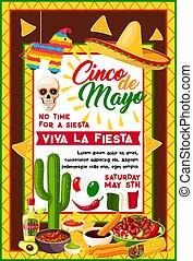 Mexican Cinco de Mayo banner with holiday symbols
