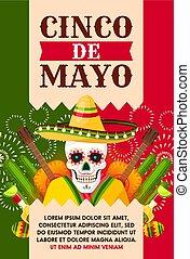 Mexican Cinco de Mayo card with skull in sombrero