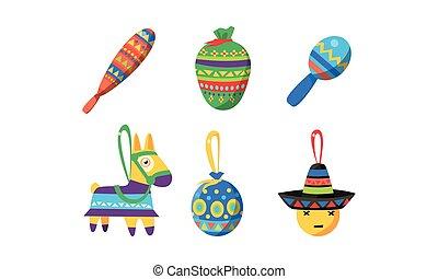 Mexican Cinco De Mayo holiday elements set, Birthday pinata vector Illustration