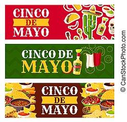 Mexican Cinco de Mayo holiday food greeting banner