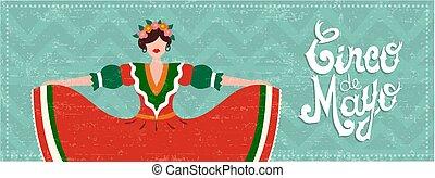Mexican cinco de mayo web banner with dancer girl
