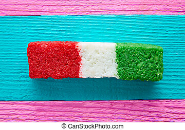 Mexican coconut flag candy striped chredded