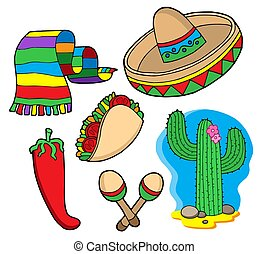 Mexican collection, objects - isolated illustration.