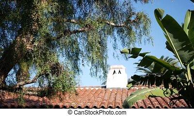 Mexican colonial style suburban, hispanic house exterior, ...