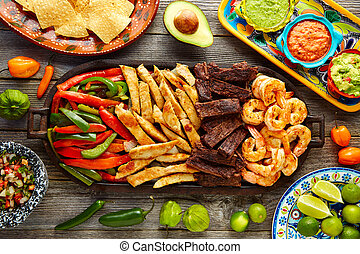 Mexican combo beef chicken fajitas shrimp - Mexican combo...