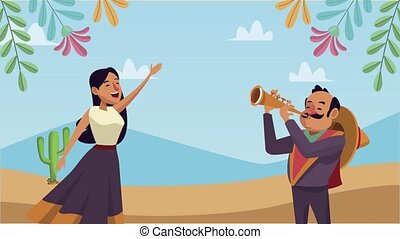 mexican couple mariachi and singer ,4k video animated