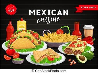 Mexican cuisine menu cover, Mexico food tacos