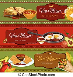 Mexican cuisine restaurant banner set design