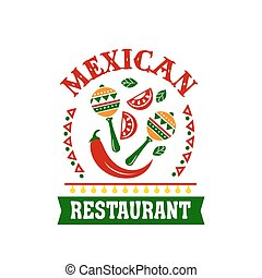Mexican cuisine restaurant emblem with spice food