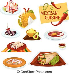 Mexican cuisine traditional spicy dishes icon - Mexican...