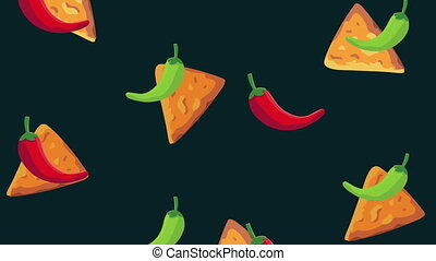 mexican culture chili peppers and nachos pattern ,4k video animated