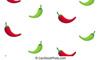 mexican culture chili peppers pattern ,4k video animated