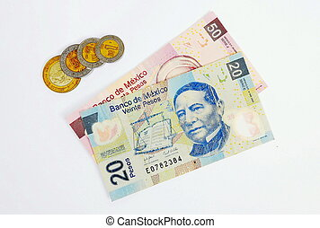 Mexican currency  Hands counting mexican pesos bills