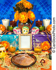 Mexican day of the dead altar (Dia de Muertos)