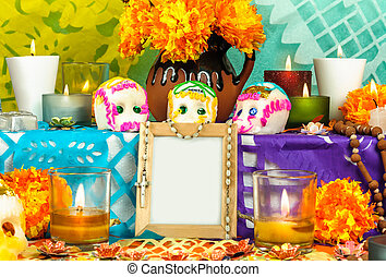 Mexican day of the dead altar (Dia de Muertos) - Traditional...