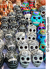 Mexican day of the dead souvenir skulls (Dia de Muertos)