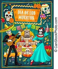 Mexican Day of the Dead sugar skulls, skeletons