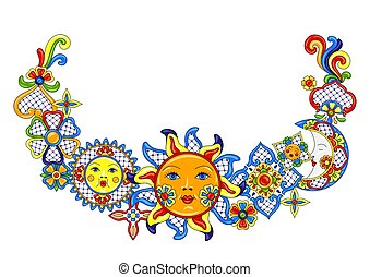 Mexican decoration with cute naive art items. Traditional...