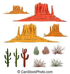 Mexican desert landscape cartoon elements