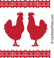Mexican design - Two cocks silhouettes with mexican ornament...