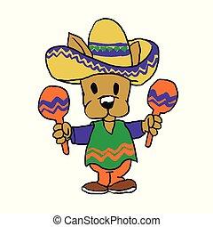 Mexican dog with maracas cartoon