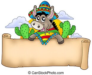 Mexican donkey holding parchment - color illustration.