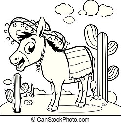 Mexican donkey in the desert. Black and white coloring book page