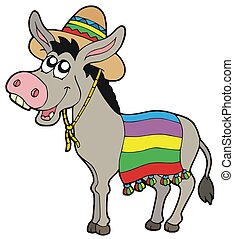 Mexican donkey with sombrero - isolated illustration.
