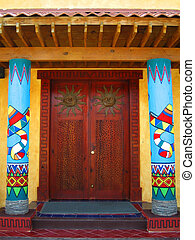 mexican doors - Mexican styled doorway and pillars