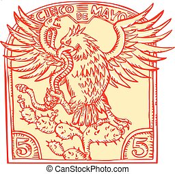 Mexican Eagle Devouring Snake Etching - Etching engraving ...
