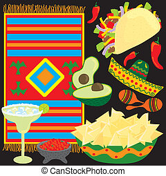 Mexican Fiesta Party elements individually grouped to make...