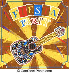 Mexican Fiesta Party Invitation with mexican guitar and...