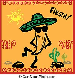 Mexican Fiesta Party Invitation with dancing pepper