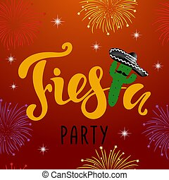 Mexican Fiesta Party Invitation with firework, cactus and sombrero.