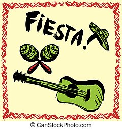 Mexican Fiesta Party Invitation with maracas, sombrero and guitar