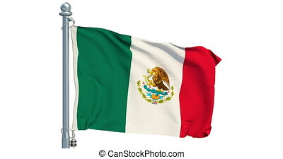 Mexican flag waving on white background, animation. 3D...