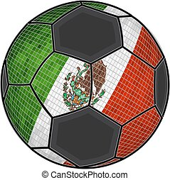 Mexican flag with soccer ball background