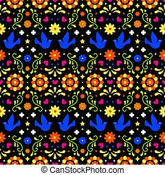 Mexican folk art seamless pattern with flowers, leaves and birds on dark background. Traditional design for fiesta party. Colorful floral ornate elements from Mexico. Mexican folklore ornament.