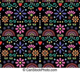 Mexican folk art seamless vector pattern, colorful design with flowers wallpaper inspired by traditional designs from Mexico