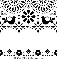 Mexican folk art vector greeting card, retro wedding or party invitation with modern twist