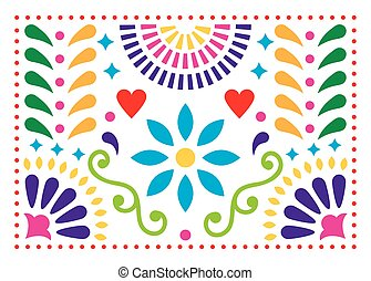 Mexican folk art vector pattern, colorful design with flowers inspired by traditional art form Mexico