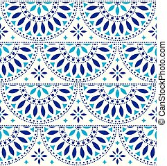Mexican folk art vector seamless geometric pattern with flowers, blue fiesta design inspired by traditional art form Mexico