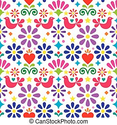 Mexican folk art vector seamless pattern, colorful textile of fabric print design with flowers, birds and hearts
